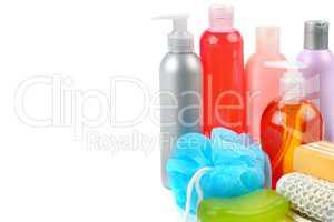 Shampoo, soap and bath sponge isolated on white background. Free