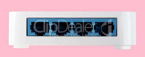 White 8 Port Plastic Ethernet Switch isolated on pink background