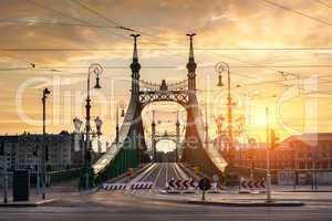 Liberty bridge at sunrise