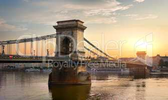 Chain Bridge and sun