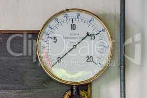 Old pressure gauges on a metal plate made of cast iron