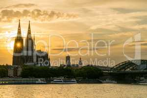 Sunset Behind Cologne Cathedral on the River Rhine, Germany