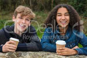 Mixed Race Teenagers Boy & African American Girl Drinking Coffee