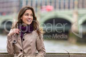 Woman By Westminster Bridge, London, England