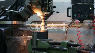 Machine Working On Steel in Lathe Factory