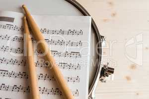 Music score and drumsticks over a snare drum