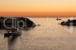 Fisherman in the early morning dawn