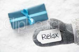 Turquoise Gift, Glove, English Text Relax, Snow