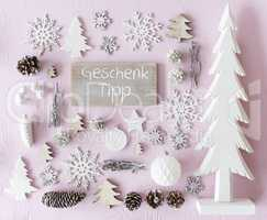 Christmas Decoration, Flat Lay, Geschenk Tipp Means Gift Tip