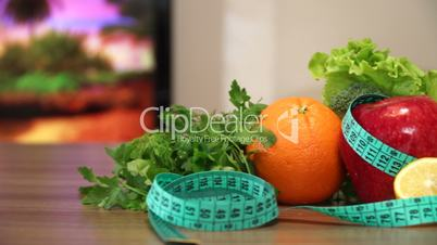 Vegetables and Fruits for Fitness with Measuring Tape