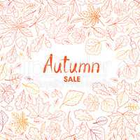 Fall leaf nature background. Autumn leaves pattern with letterin