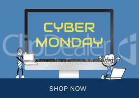 Cyber Monday Sale in style of comic