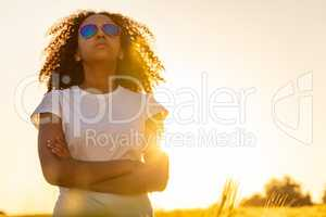 Mixed Race African American Girl Teen Sunglasses Sunset in Field