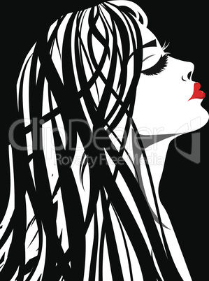 Beauty girl face sketch, woman face vector portrait. Hair wave.