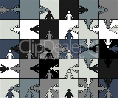 Business seamless background friendship team people, puzzle illustration. Company staff teamwork.