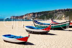 Fishing boat on the beach of Nazare in Portugal