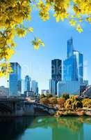 Paris business district in autumn