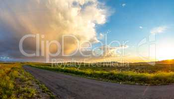 Panorama of the road at sunset in the high plateau