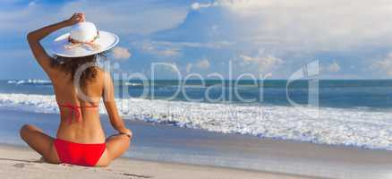 Sexy Woman Girl Sitting Sun Hat & Bikini on Beach