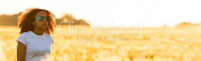 Mixed Race African American Girl Teen Sunglasses Standing Wheat