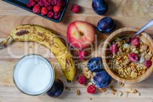 Bowl of muesli with sweet berries, fruits and milk