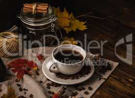 Autumn Evening with Cup of Coffee.