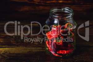 Jar of Dried Red Chilii Peppers.