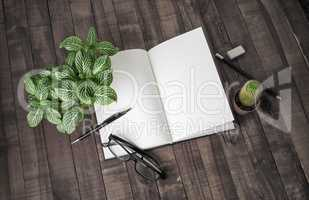 Booklet, stationery, plants