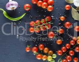 red cherry tomatoes, top view