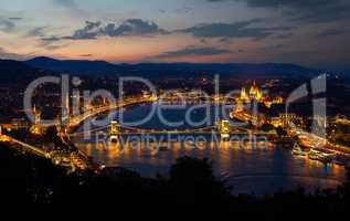 Panorama of evening Budapest