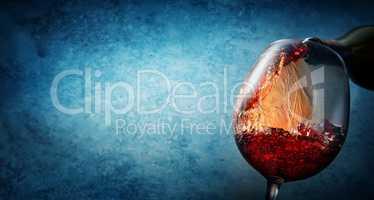 Wine on textured blue