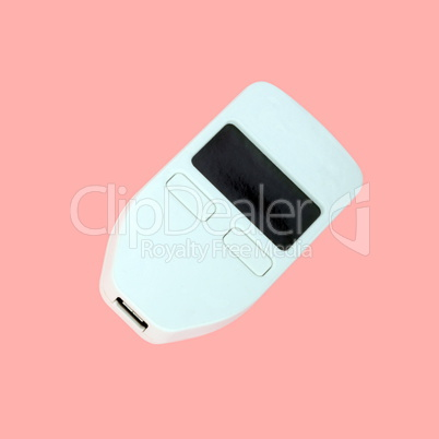 Hardware currency wallet isolated on pink background