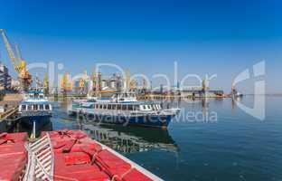 Pleasure boat in the port of Odessa