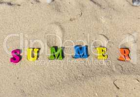 inscription summer from multi-colored wooden letters