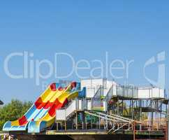 platform with water children's attractions roller coaster stands