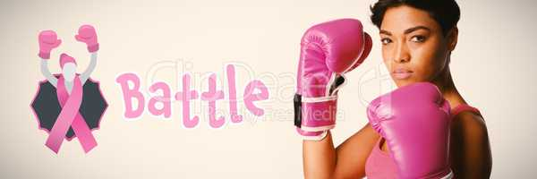 Composite image of battle text with female likeness and breast cancer awareness ribbon