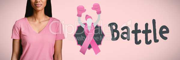 Composite image of  one women in pink standing for breast cancer