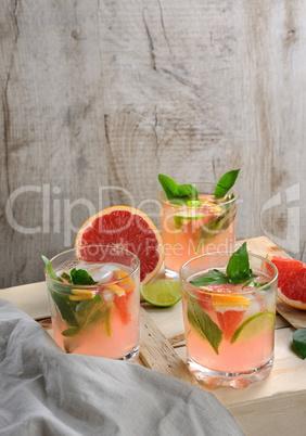 Cocktail of grapefruit and lemon basil