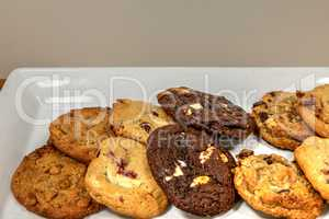 Assorted homemade cookies including chocolate chip, white chocol