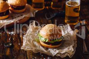 Homemade Burger with Beer.