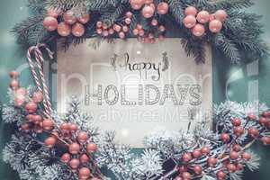 Christmas Garland, Fir Tree Branch, Calligraphy Happy Holidays