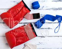 boxing gloves, blue textile bandage, silicone protection for te