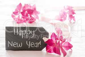 Pink Hydrangea Blossom, Text Happy New Year