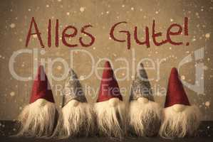 Gnomes, Snowflakes, Alles Gute Means Best Wishes