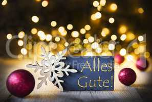 Christmas Background, Lights, Alles Gute Means Best Wishes