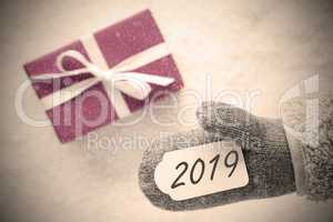 Pink Gift, Gray Glove, Text 2019, Snowy Background