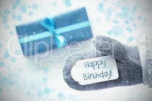 Turquoise Gift, Glove, Text Happy Birthday, Snowflakes