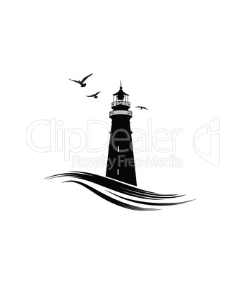 Lighthouse logo. Nautical icon with lighthouse with ocean waves