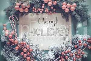 Christmas Garland, Calligraphy English Text Happy Holidays