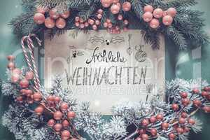 Christmas Garland, Calligraphy Froehliche Weihnachten Means Merry Christmas